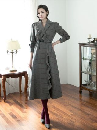 Other Plaid Patterns Casual Style Wool Long Sleeves Medium