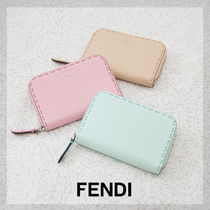 FENDI Plain Leather Coin Purses