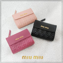 MiuMiu Plain Leather Folding Wallet Folding Wallets