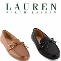 LAUREN RALPH LAUREN Moccasin Round Toe Casual Style Plain Leather