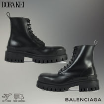 BALENCIAGA Round Toe Lace-up Casual Style Plain Leather Elegant Style