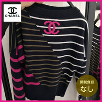 CHANEL Stripes Casual Style Cashmere Long Sleeves Elegant Style