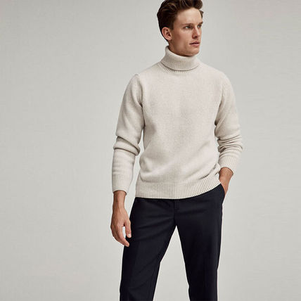 Unisex Wool Cashmere Street Style Long Sleeves Plain