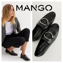 MANGO Round Toe Rubber Sole Other Animal Patterns Leather