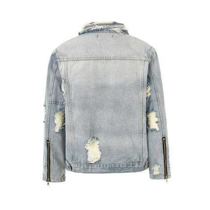 Short Denim Street Style Plain Denim Jackets Oversized