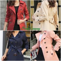 Stand Collar Coats Short Casual Style Plain Chester Coats