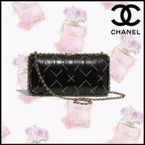 CHANEL Calfskin Blended Fabrics Chain Plain Party Style