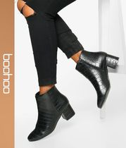 boohoo Casual Style Faux Fur Block Heels Ankle & Booties Boots