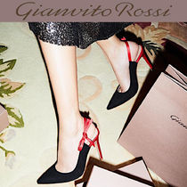 Gianvito Rossi Casual Style Suede Blended Fabrics Bi-color Plain Leather
