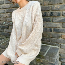 Crew Neck Cable Knit Casual Style U-Neck Long Sleeves Plain