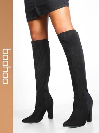 Casual Style Faux Fur Over-the-Knee Boots