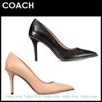Coach Casual Style Studded Plain Leather Pin Heels Party Style