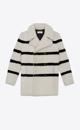 Saint Laurent Stripes Fur Street Style Long Shearling Peacoats Coats