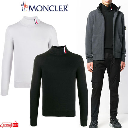 MONCLER Sweaters Wool Long Sleeves Logo Sweaters