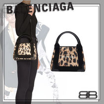 BALENCIAGA Leopard Patterns Casual Style Street Style Logo Totes