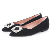 Pretty Ballerinas Suede Plain Leather With Jewels Ballet Shoes