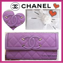 CHANEL ICON Calfskin Plain Long Wallets