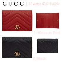 GUCCI GG Marmont Unisex Blended Fabrics Passport Cases