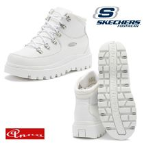 SKECHERS Plain Toe Lace-up Casual Style Blended Fabrics Street Style