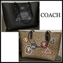 Coach Monogram Unisex Collaboration A4 Leather PVC Clothing Totes