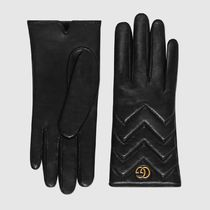 GUCCI GG Marmont Plain Leather Logo Leather & Faux Leather Gloves