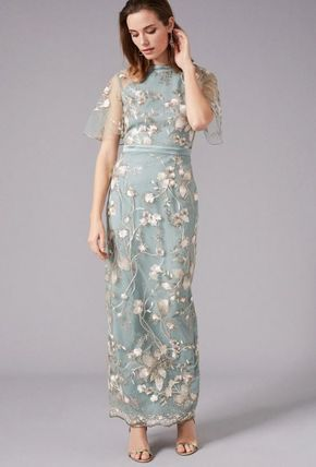 Flower Patterns Maxi Halter Neck Long Short Sleeves