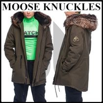 MOOSE KNUCKLES Fur Plain Khaki Parkas