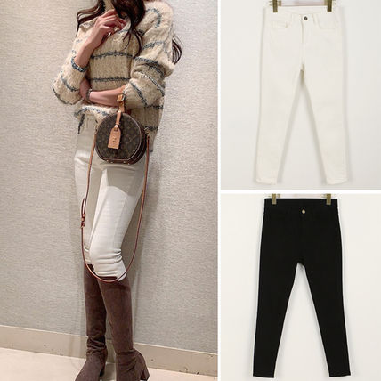 Casual Style Plain Cotton Long Skinny Pants