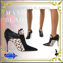 Manolo Blahnik Leopard Patterns Casual Style Leather Pin Heels Party Style