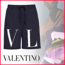 VALENTINO Nylon Street Style Plain Cotton Joggers Shorts