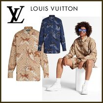 Louis Vuitton Button-down Camouflage Monogram Long Sleeves Cotton Shirts
