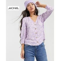 MONKI Flower Patterns Casual Style Puffed Sleeves Cropped Medium