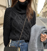 Cable Knit Long Sleeves Medium High-Neck Turtlenecks