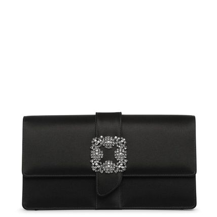 Blended Fabrics Plain Party Style With Jewels Clutches