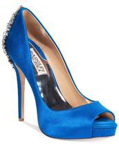 Badgley Mischka Open Toe Platform Pin Heels Party Style With Jewels