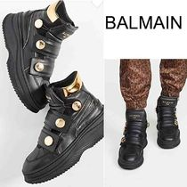 BALMAIN Street Style Collaboration Leather Low-Top Sneakers