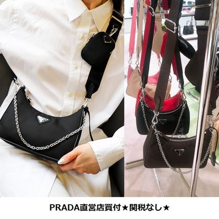 PRADA Nylon 2WAY 3WAY Chain Plain Party Style Elegant Style