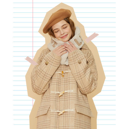 Other Plaid Patterns Unisex Street Style Plain Shearling