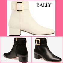 BALLY Casual Style Plain Leather Block Heels Ankle & Booties Boots