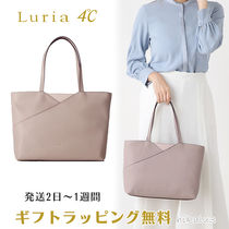 4℃ A4 Plain Leather With Jewels Office Style Elegant Style