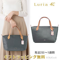 4℃ Flower Patterns Nylon 2WAY Plain Leather With Jewels