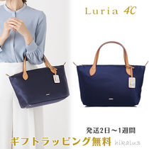 4℃ Nylon 2WAY Plain Leather With Jewels Office Style
