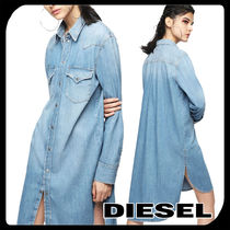 DIESEL Casual Style Denim Long Sleeves Plain Cotton Long