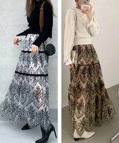 Flared Skirts Casual Style Plain Long Lace Maxi Skirts