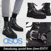 ASOS Plain Leather Engineer Boots
