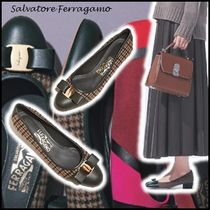 Salvatore Ferragamo Casual Style Tweed Blended Fabrics Leather Elegant Style