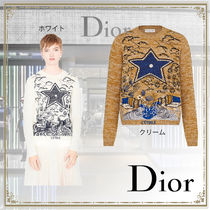 Christian Dior Crew Neck Star Casual Style Cashmere Silk Long Sleeves