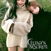 Casual Style Plain Long Super-long Sleeves Turtlenecks