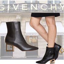 GIVENCHY Plain Toe Plain Leather Elegant Style Ankle & Booties Boots