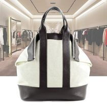 alexander mcqueen Casual Style Nylon Bi-color Plain Leather Oversized Totes